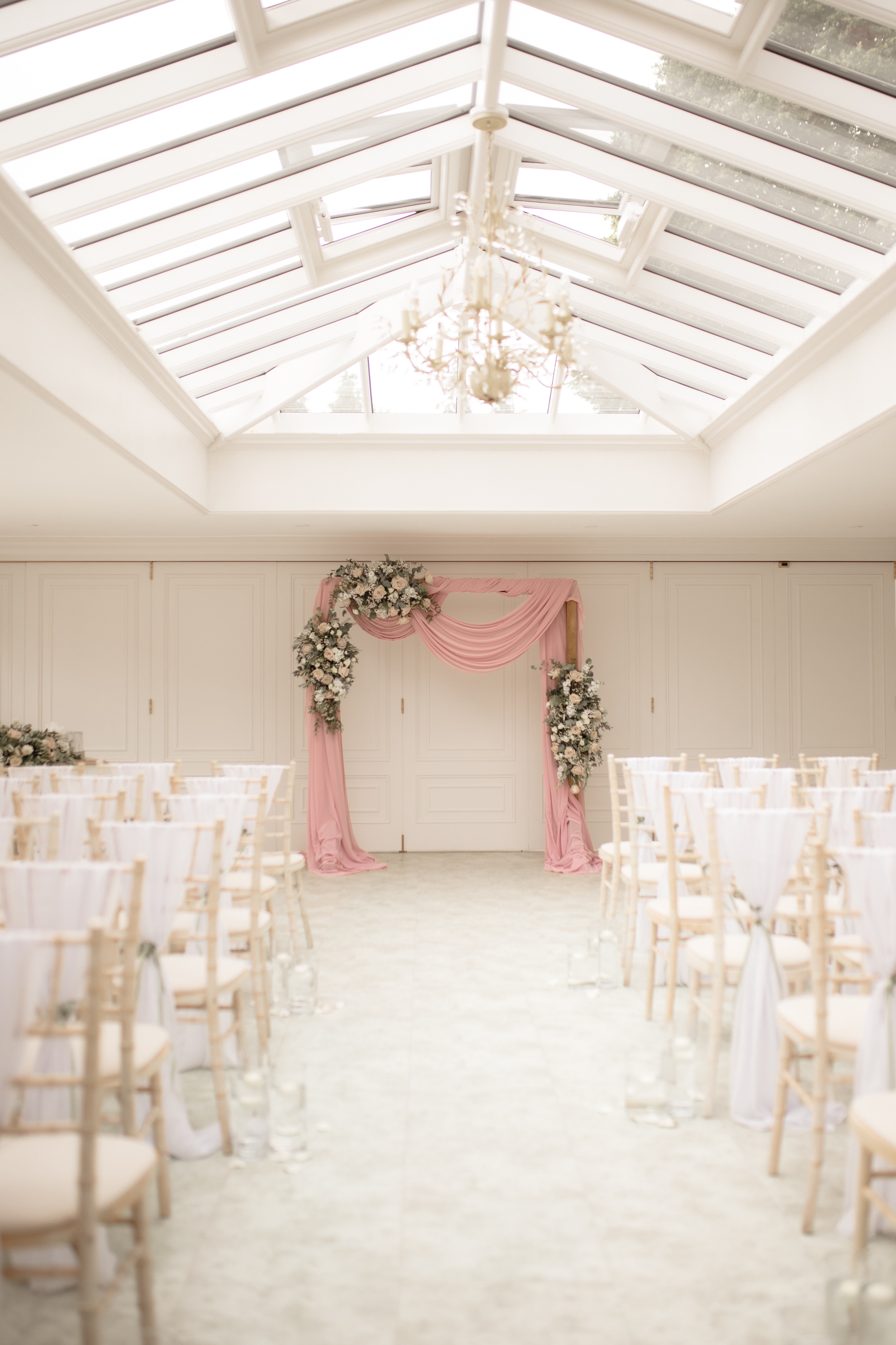 Hayne House wedding room with pink decorations